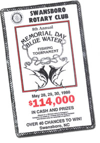 1988 Memorial Day Blue Water Fishing Tournament flyer.